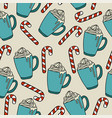 christmas seamless pattern with hor chocolate and vector image vector image