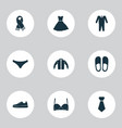 Clothes icons set with gumshoes bra scarf and