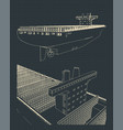 container ship blueprint vector image