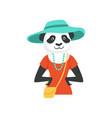 cute fashion panda bear girl character hipster vector image vector image