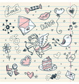 Doodle Valentines day scrapbook page vector image vector image