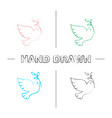 dove with olive branch hand drawn icons set vector image