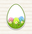 Easter paper sticker eggs with green grass and vector image vector image