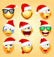 emoticon set yellow face with emotions and vector image vector image