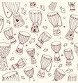 ethnic seamless pattern with african drums djembe vector image
