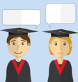 Flat design modern of students in graduation gowns vector image