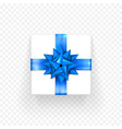 gift box blue bow ribbon design birthday new year vector image