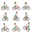 girl riding on bike set active lifestyle concept vector image vector image