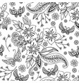 hand drawn flowers and butterfly background vector image vector image