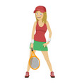 happy female tennis player posing with racket vector image vector image