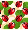 Ladybug and clover seamless vector image