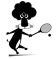 lion playing tennis isolated vector image vector image
