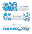 medical banners set with icons vector image vector image