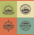 mountains four colored vintage emblems vector image vector image
