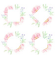 pink peony watercolor flower bouquet wreath frame vector image vector image