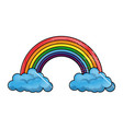 rainbow with clouds vector image vector image