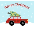 Red car with christmas tree vector image vector image