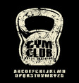 sanserif font and gym club emblem for t-shirt vector image vector image