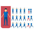 set of character design of person with blue shirt vector image vector image