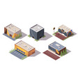 set of isometric supermarkets or grocery stores vector image vector image