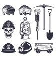 Set of vintage coal mining elements vector image vector image