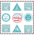set vintage textured grunge christmas stamp vector image vector image