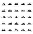 silhouette mountain in flat style icon set vector image