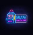slot machine neon sign casino design vector image vector image