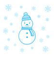 smiling snowman and snowflakes vector image