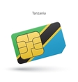 Tanzania mobile phone sim card with flag vector image vector image