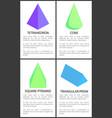 tetrahedron cone square pyramid triangular prism vector image vector image