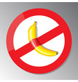 the banana is glued to prohibition sign vector image