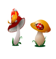 two mushrooms vector image vector image