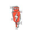 usb cable icon in comic style electric charger vector image