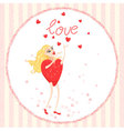 Valentine card with Woman heart stands with arms r vector image vector image