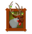 wall picture in a wooden frame with christmas deer vector image