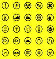 Warning sign icons on yellow background vector image vector image