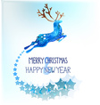 Watercolor beautiful blue deer with snowflakes vector image vector image