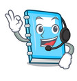 with headphone education mascot cartoon style vector image
