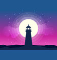 lighthouse silhouette moonlight vector image