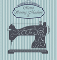 Retro sewing machine with floral ornament on vector image