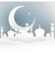 ramadan night white paper cut style vector image