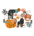 abstract african art shapes collection vector image