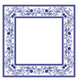 blank frame with blue boho floral ornament with vector image vector image