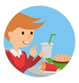 Boy eating fast food of a vector image