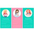 breastfeeding informative vertical posters set vector image vector image