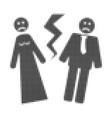 broken wedding halftone dotted icon vector image