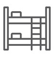 bunk bed line icon furniture and home bed sign vector image vector image