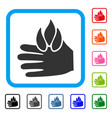 burn hand framed icon vector image