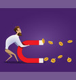 business concept of businessman hold magnet vector image
